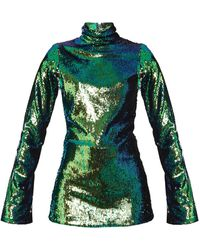 Halpern - High-neck Sequin-embellished Top - Lyst