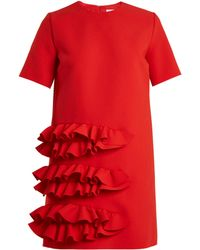 MSGM   Red Ruffle Dress   Lyst