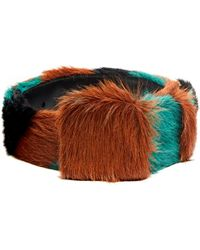 Prada | Tri-colour Striped Calf-hair Belt | Lyst