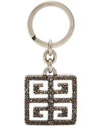 Givenchy 4g Logo Engraved Metal Key Ring - Metallic