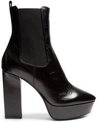 Saint Laurent - Vika Leather Platform Ankle Boots - Lyst