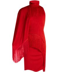 Givenchy - Fringed High-neck Compact-jersey Dress - Lyst