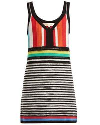 Diane von Furstenberg - - Striped Crochet Knit Cotton Dress - Womens - Multi Stripe - Lyst
