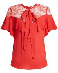 Elie Saab - Round Neck Ruffle Silk Blend Top - Lyst