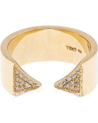 Ileana Makri - White Diamond & Yellow Gold Pyramid Ring - Lyst