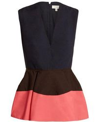 Delpozo - Colour-block Peplum Cotton Top - Lyst