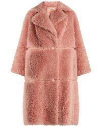 Vika Gazinskaya - Notch-lapel Faux-leather Trimmed Alpaca-blend Coat - Lyst