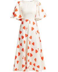 Vika Gazinskaya - Heart Print Silk Blend Satin Twill Dress - Lyst