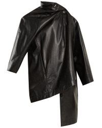Balenciaga - Pulled Vintage-effect Leather Coat - Lyst