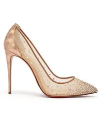 8d0b6e8ae926 Christian Louboutin - Follies Strass 100 Holographic Heel Mesh Court Shoes  - Lyst