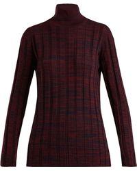 Marni - High-neck Ribbed Melange Wool Jumper - Lyst