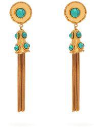 Sylvia Toledano - Turquoise Embellished Tassel Drop Earrings - Lyst