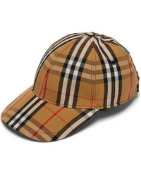 Burberry - Vintage Check Cotton Baseball Cap - Lyst