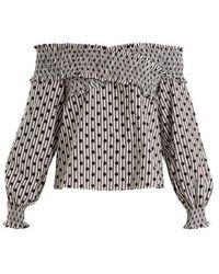 Anna October - Off-the-shoulder Polka-dot Cotton Top - Lyst