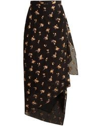 Roland Mouret - Petworth Chevron-embossed Floral Skirt - Lyst