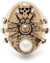 Alexander McQueen - Spider Pearl And Crystal Embellished Ring - Lyst