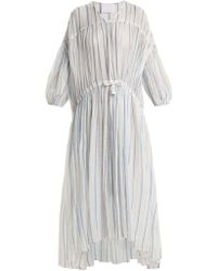 LOVE Binetti - Drawstring Waist Striped Cotton Dress - Lyst