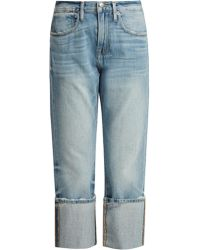 FRAME - Le Oversized Cuff Mid-rise Jeans - Lyst