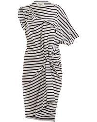 Junya Watanabe - Striped Asymmetric Gathered Cotton-jersey Dress - Lyst