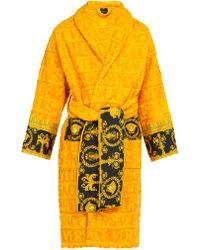Versace - Print-panelled Logo-jacquard Cotton Bathrobe - Lyst