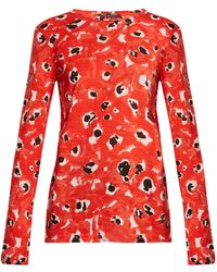 Proenza Schouler | Abstract-print Long-sleeved Cotton-jersey Top | Lyst