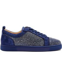 388f30e9c6a6 Christian Louboutin - Louis Strass Embellished Low Top Leather Trainers -  Lyst