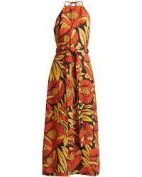 Raey - Split-skirt Floral-chintz Halterneck Dress - Lyst