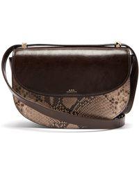 A.P.C. - Genève Snake Print Leather Cross Body Bag - Lyst