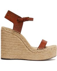 Saint Laurent - Studded Espadrille Wedge Sandals - Lyst