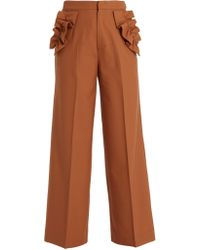 MUVEIL | Ruffle-trimmed High-rise Trousers | Lyst