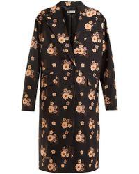 Miu Miu - Floral-print Wool Coat - Lyst