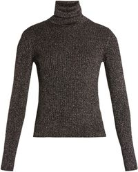 Saint Laurent - Roll-neck Ribbed Sweater - Lyst