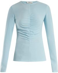 Tibi - Ruched-front Stretch-crepe Top - Lyst