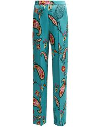 Etro - Paisley Print Charmeuse Trousers - Lyst
