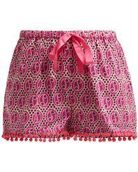 Figue - Maja Geometric Print Cotton Shorts - Lyst