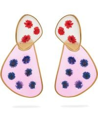 Peter Pilotto - Double Face Frosted Glass Flower Earrings - Lyst