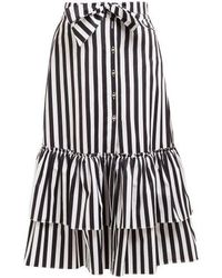 Caroline Constas - Striped Tie-waist Cotton Midi Skirt - Lyst