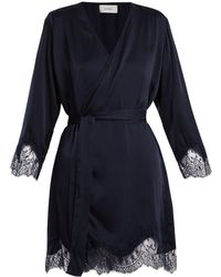 Icons - Lily Lace Trimmed Silk Satin Kimono - Lyst