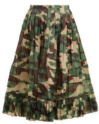 Junya Watanabe - High-rise Camouflage-print Pleated Skirt - Lyst