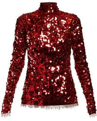 Dolce & Gabbana - Sequinned High-neck Top - Lyst