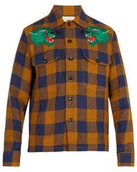 Gucci - Chequered Green Panther Linen Shirt - Lyst