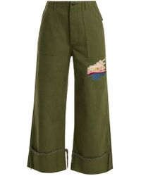 Bliss and Mischief Sunset Embroidered Cropped Cotton Drill Pants - Green