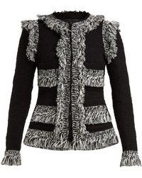 Giambattista Valli - Fringed Single Breasted Cotton Blend Tweed Jacket - Lyst
