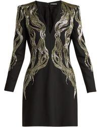 Alexander McQueen - Bead Embroidered Wool Blend Mini Dress - Lyst