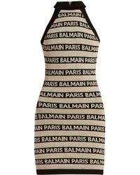 Balmain - Logo Striped Dress - Lyst