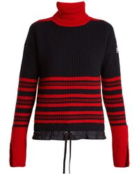 Moncler - Roll Neck Striped Ribbed Knit Wool Blend Sweater - Lyst