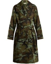 Nili Lotan - Farrow Camouflage Print Cotton Blend Trench Coat - Lyst