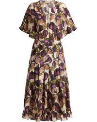 Adriana Degreas - Silk Crepe Fig Print Midi Dress - Lyst