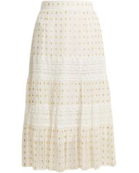 Temperley London - Wondering Lace-insert Fil Coupé Chiffon Midi Skirt - Lyst