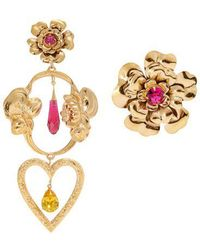 Rodarte - Flower Asymmetric Gold-plated Earrings - Lyst
